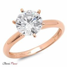 2.0 ct BRILLIANT Round CUT SOLITAIRE ENGAGEMENT RING REAL 14K Rose GOLD