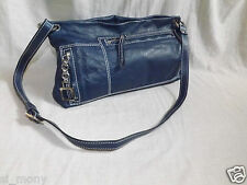 Ladies Navy Shoulder Bag Real Leather-Denim looks Strap Adjust Nicoli Size M