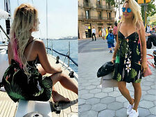 ZARA FLORAL PRINTED DRESS FRONT KNOT BLACK STRAPPY SHORT MINI SIZE SMALL