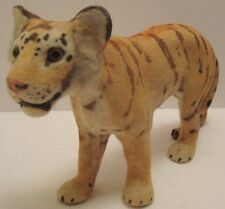 Old Lg German Composition & Felt Tiger w/ Glass Eyes for Christmas Putz Zoo