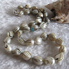 "18"" 10-12mm White Black Water Wave Freshwater Mother of Pearl Necklace Dyed"