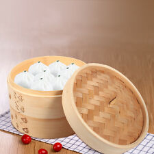 "8"" 2 Tiers Food Steamer Made Of Bamboo Round Non-stick Dim Sum Basket With Lid"