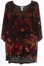 NEW Catherines 1X 18/20W Velvet Burn-out Shirt Top Tunic Stretch Knit Red Black