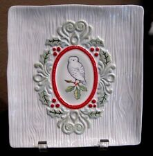 Grasslands Road ~ Winter Wilderness Square Plate with White Owl ~ EUC