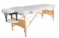 "84""L 2"" Pad Cream Portable Massage Table w/Free Carry Case Chair Spa Facial T1"