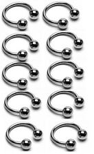 "10 Pc 16g 7/16"" 316L Surgical Steel Ball Horseshoes Barbells Nipple rings Septum"
