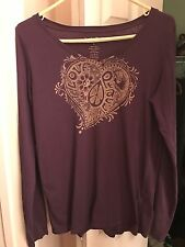 NWOT Lucky Brand Tees Women's  L Purple Peace Heart Top T-Shirt V Neck Long Sl
