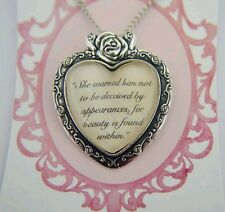 "Beauty and the Beast quote necklace ""she warned him not to be deceived by appear"