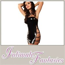 Black Vinyl Wet Pvc Look Fancy Dress Sexy Dominatrix Outfit Size 8 10 12