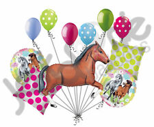 11pc Brown Charming Horse Balloon Bouquet Decor Happy Birthday Playing Pony Girl