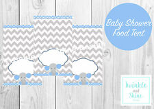 Baby Shower, Blue Elephant, Boy Food Labels, Name, Tent Cards, Decoration.