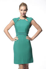 NEW $378 Sz S 6 Nanette Lepore FOREST GREEN Studded Cutout Stretch Sheath Dress