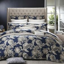 PRIVATE COLLECTION ALEXANDRA NAVY King Size Bed Doona Quilt Cover Set - NEW