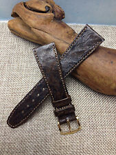 20mm BROWN VINTAGE HIRSCH ROYAL CARP GENUINE LEATHER WATCH BAND NEW  GOLD BUCKLE