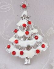 Christmas Tree Brooch Pin Silver White Red Rhinestones Fashion Jewelry NEW
