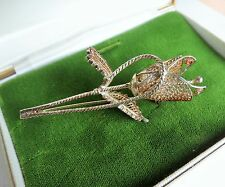 Great quality antique silver tone filigree Rose BROOCH