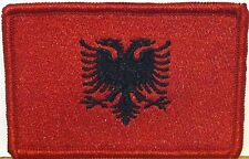 ALBANIA FLAG Embroidered Iron-On PATCH ALBANIAN EMBLEM Red Border #03