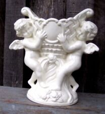VINTAGE ANTIQUE WHITE CERAMIC CHERUB ANGEL PLANTER HOME & GARDEN POT VASE VESSEL