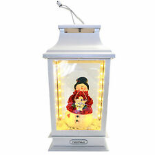 MUSICAL Decorazione Natalizia 42cm LIGHT Up LED NATALE LANTERNA con Pupazzo di Neve Figura