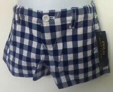 Ralph Lauren Girls Shorts~Blue & White Large Gingham Check~Size 3T~NWT