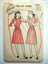 1940's 1950's Teen-age fashion blouse skirt school clothes pattern 4062 size 14
