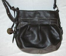 Chaps Brown Hobo Style Shoulder Bag with Buckle Embellishments and Long Strap