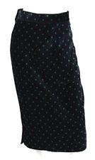 GIANNI VERSACE Vintage Dark Blue Velvet Polka Dot Pencil Skirt 40