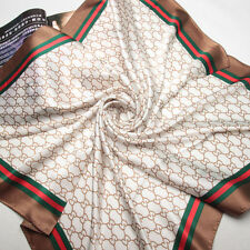 """35"""" Square 100% Silk Scarf Women Shawl thick Wrap large beige brown red 203-037"""