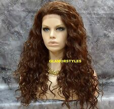 "30"" Long Spiral Curls Auburn Brown Mix Full Lace Front Wig Heat Ok Hair Piece"