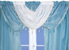 Crystal Beaded Voile Curtain Swags All Colours - Pelmet Valance Net Curtains