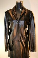 BCBG MAX AZRIA COLLECTION LEATHER BLACK LEATHER LINED JACKET COAT Size 10 Med