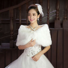 New Winter White Shrug Wedding Wrap Bolero Shawl Bridal Beaded Faux Fur Capes
