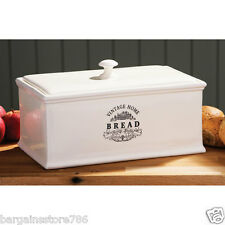 VINTAGE HOME KITCHEN LOAF BREAD BOX CERAMIC CREAM BIN STORAGE CONTAINER CROCK
