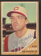1962 TOPPS #193 EDDIE KASKO CINCINNATI REDS SIGNED BASEBALL CARD AUTO