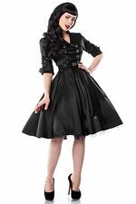 4X 26 MILITARY DAMES ROCKABILLY GOTH DEADLY BLACK 50s 60s COLLARED SWING DRESS