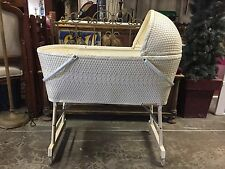Antique Wicker Baby Bassinet  Baby Nursery Bed Basket Crib Cradle