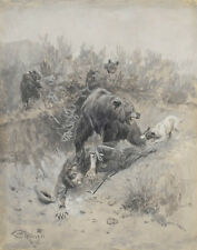Russell Charles He Tripped And Fell Into A Den On A Mother Bear Print   #3873