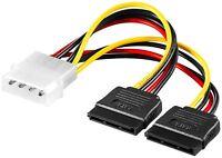 SATA Strom Kabel Adapter StromkabeI 1x 4 Pin Stecker auf 2x SATA Buchse 0,13 m