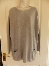 HOBBS London 100% Cashmere Loose Long jumper With Pockets Size 12