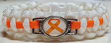 Multiple Sclerosis, Luekemia Awareness Orange Ribbon White Paracord Bracelet