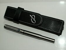 PARKER 25 FOUNTAIN PEN. BRUSHED S/STEEL. WITH FAUX LEATHER CASE. EXC; CONDITION.