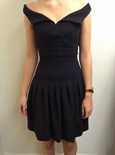 Chanel Portrait Collar Box Pleat Black Dress, Size: 34