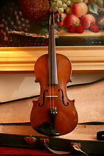 A Fine Old Copy Stradivarius 4/4 Violin, 14 Inch Two Piece Back, Case & Bow