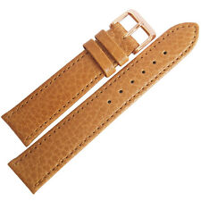 18mm Fluco Record Tan Buffalo-Grain Leather ROSE GOLD Buckle Watch Band Strap