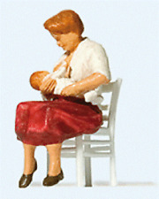 HO Preiser Woman / Mother Nursing Baby on Chair Figures # 28176