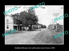 OLD LARGE HISTORIC PHOTO OF SMITHTON MISSOURI, THE MAIN STREET & STORES c1905