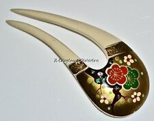 LOVELY VICTORIAN CELLULOID IVORY ASIAN CHINESE JAPANESE HAND-PAINTED HAIR COMB