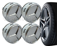 4 x AMG MERCEDES BENZ SILVER ALLOY WHEEL CENTRE CAPS - RAISED DESIGN STYLE