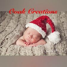 Crochet 0-3 Months Baby Santa Hat Christmas Photography Prop Or Gift