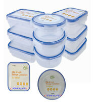 New 9 x Clip & Lock lids Containers Storage Plastic Boxes Fresh Food Pack Lunch